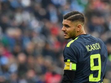 Icardi, durante un partido con el Inter