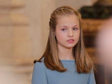 La princesa Leonor durante el acto de imposición del Toisón de Oro