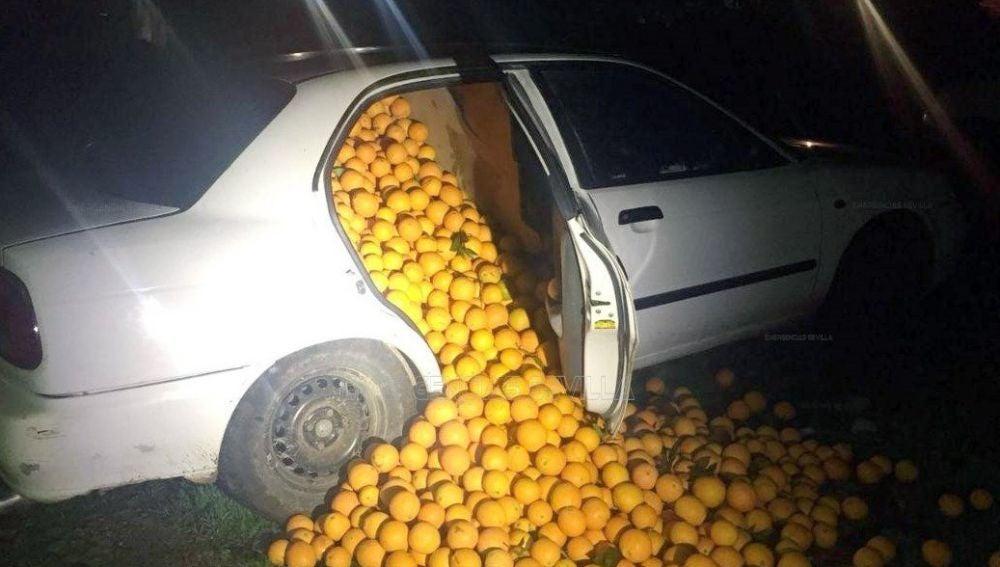 Uno de los coches llenos de naranjas