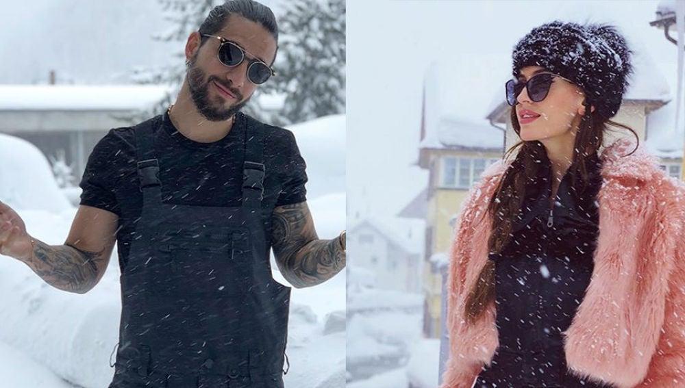 Maluma y Natalia Barulích pasaron unos días en la nieve