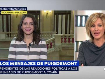 """Arrimadas, sobre los mensajes de Puigdemont: """"Ahora resulta que los traidores van a ser ellos"""""""