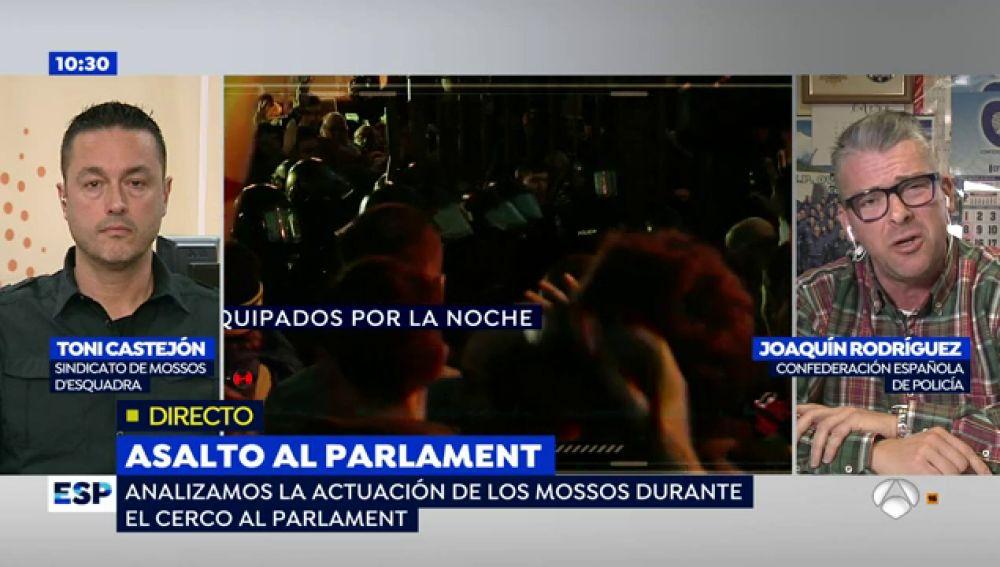"""Toni Castejón, sobre el dispositivo de seguridad en el cerco al Parlament: """"Absolutamente lamentable, los agentes se vieron desbordados y vendidos"""""""