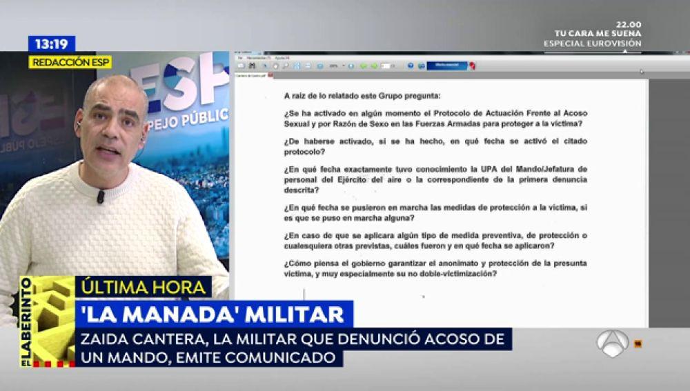 El comunicado de Zaida Cantera, la comandante que denunció acoso sexual de un mando, sobre la 'Manada' militar