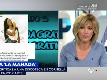 """Susanna Griso se pronuncia ante el polémico cartel 'Únete a la manada' de una discoteca de Cornellá: """"Hay que ser tonto"""""""