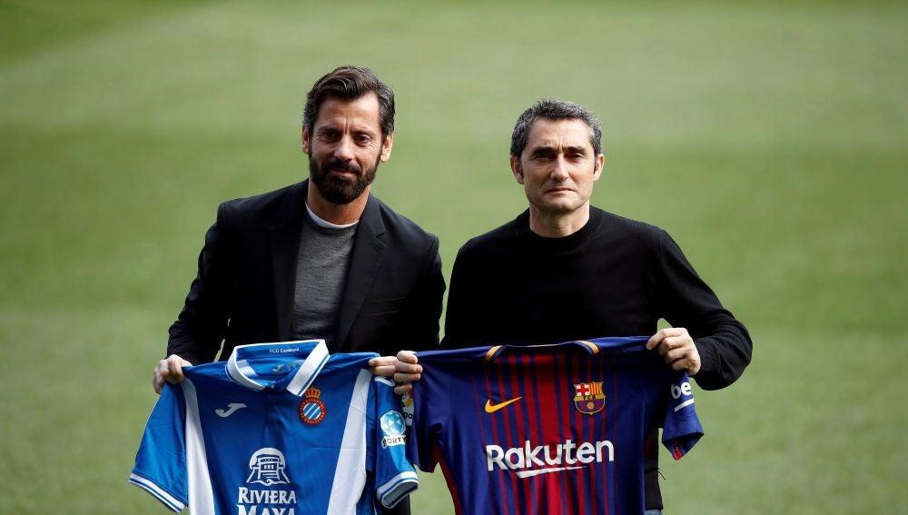 Quique Sánchez Flores y Valverde posan juntos en Cornellá