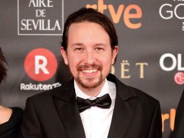 El líder de Podemos, Pablo Iglesias, en los Premios Goya 2018