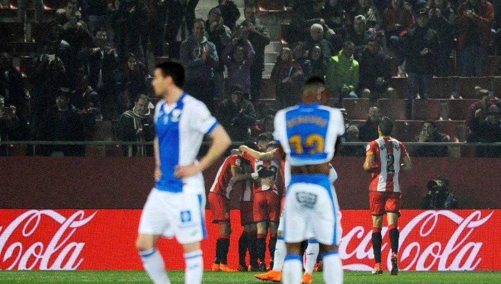 Los jugadores del Girona celebran un gol ante el Leganés
