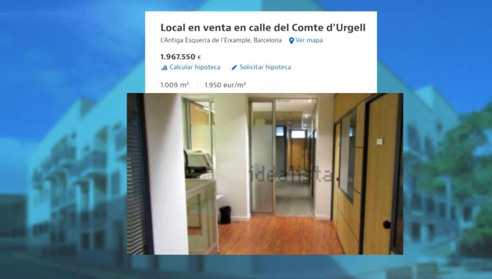 El Partido Popular pone en venta su sede en Barcelona por dos millones de euros