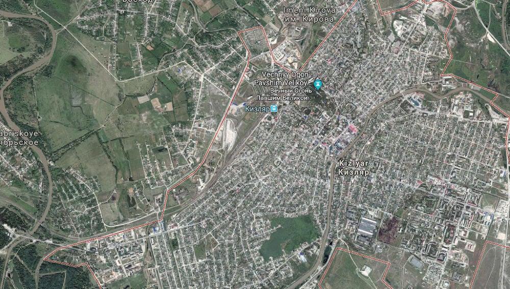 Imagen del mapa de la localidad de Kizliar en Daguestán
