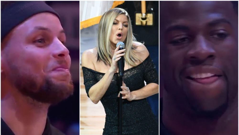 Los jugadores del All Star reaccionan al himno cantado por Fergie