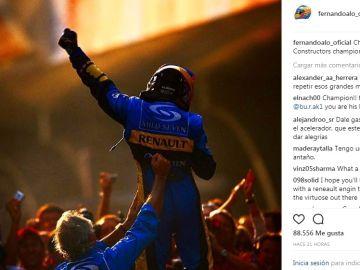 Publicación de Fernando Alonso en su instagram