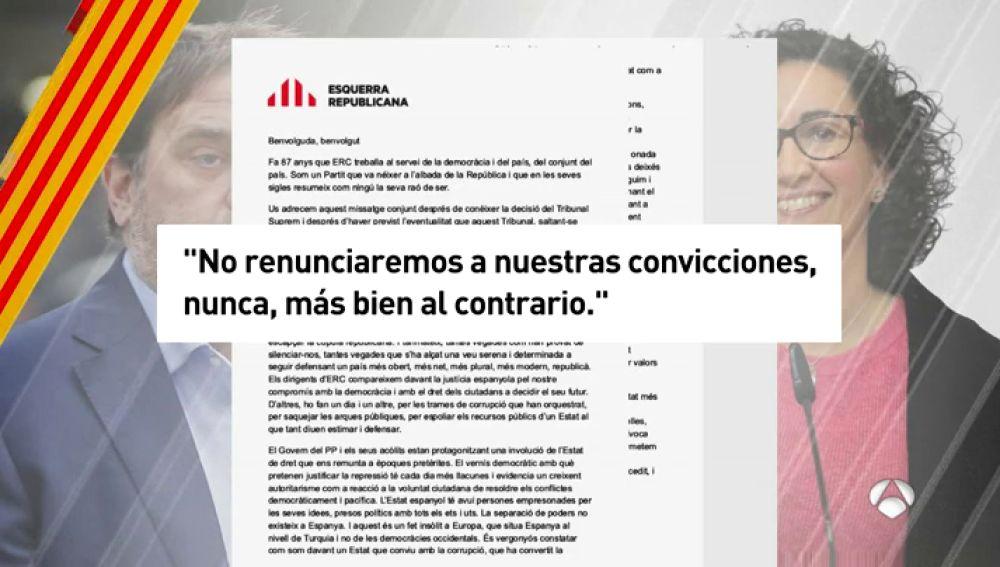 Junqueras y Rovira aseguran que ERC no renuncia a sus convicciones, aunque no mencionan la independencia