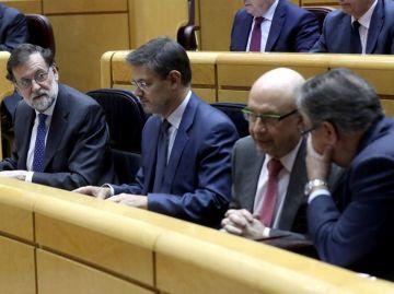 Rajoy junto a Catalá, Montoro y Zoido en el Senado