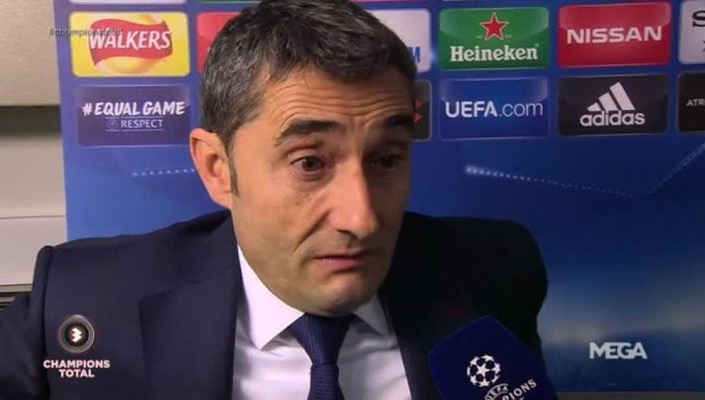 Valverde, con Susana Guasch tras el Chelsea-Barça