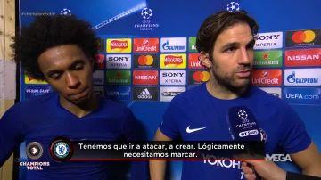 Cesc, junto a Willian tras el Chelsea-Barça
