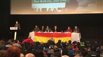 Zapatero, Iglesias y Garzón en un acto de apoyo a Evo Morales