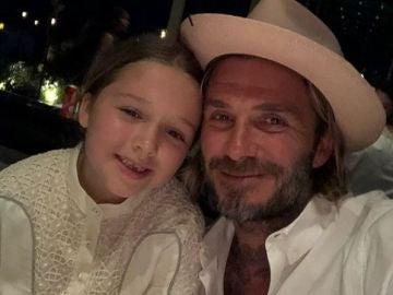 David Beckham y su hija Harper