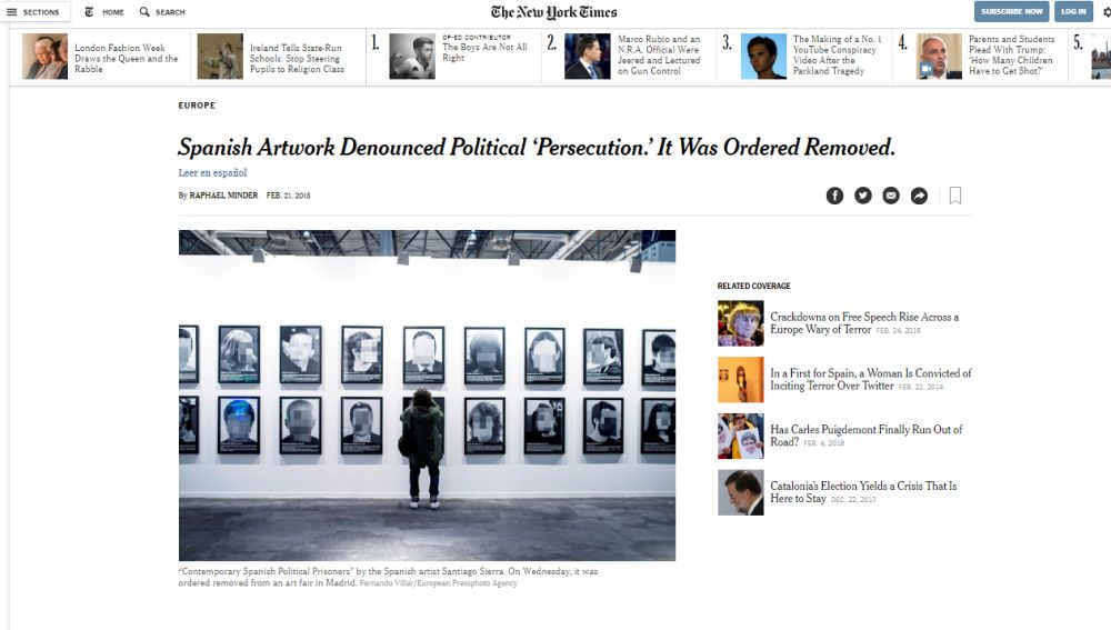Artículo en 'The New York Times'