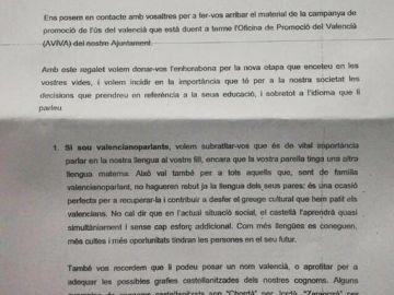 Carta enviada por el Ayuntamiento de Castellón