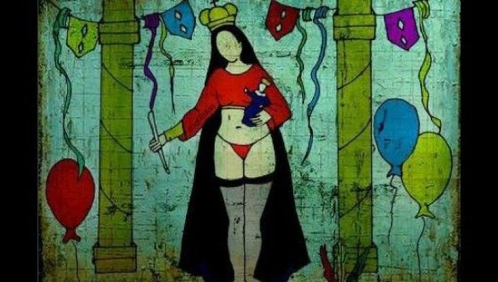 La obra de la artista boliviana Rilda Paco de una virgen en tanga