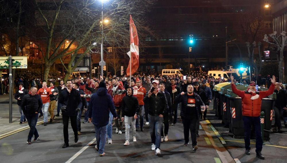 Ultras del Spartak de Moscú, en Bilbao