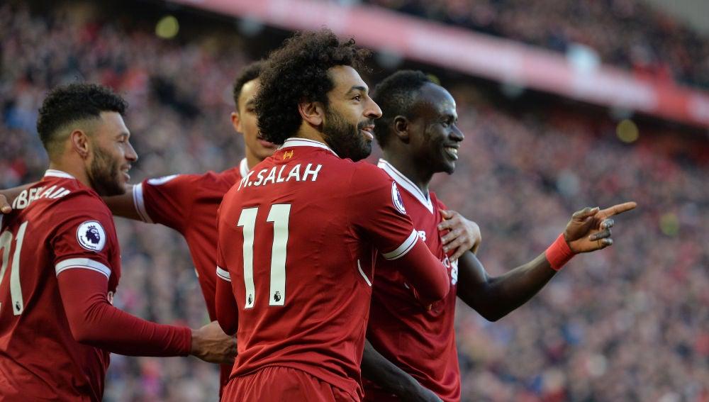 El Liverpool celebrando un gol