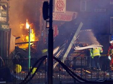Incendio en un edificio de Leicester