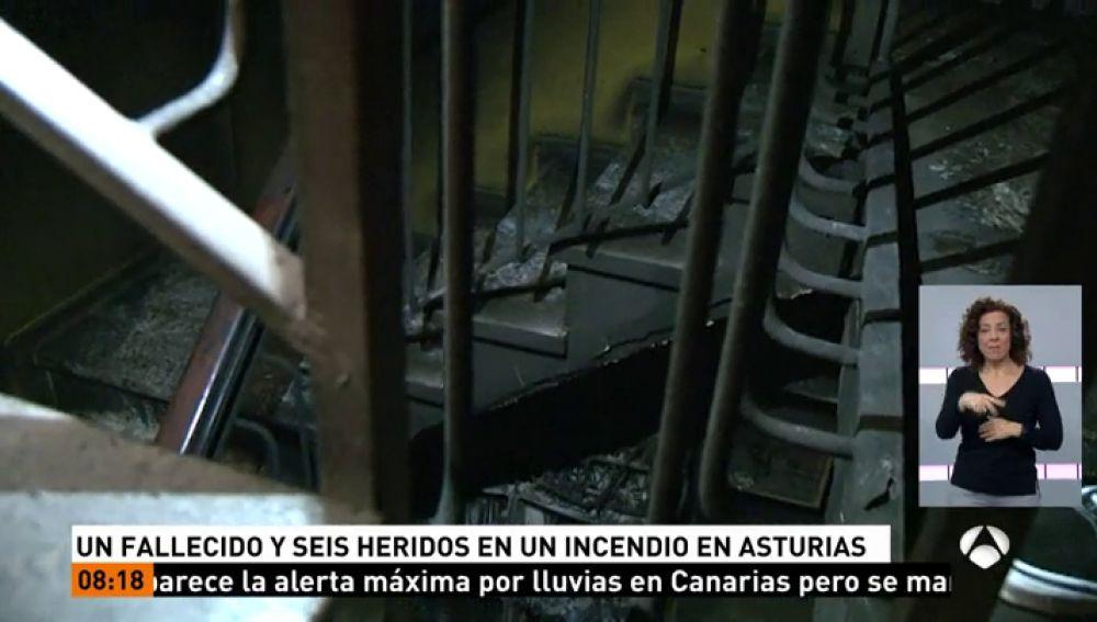 Incendio en un edificio de Siero