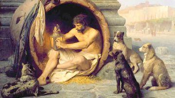 Diogenes sentado en su tinaja, cuadro de Jean-Léon Gérôme