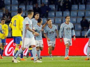 Los jugadores del Celta celebran un gol ante Las Palmas