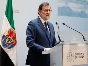Mariano Rajoy en un acto en Badajoz