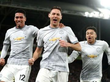 Matic celebra el gol del la victoria ante el Crystal Palace