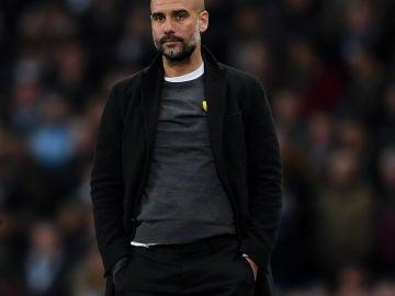 Pep Guardiola, durante el partido ante el Basilea