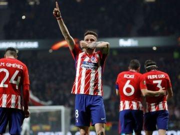Saúl celebra su gol ante el Lokomotiv