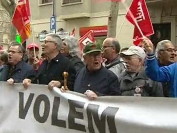 Protesta de pensionistas en Barcelona