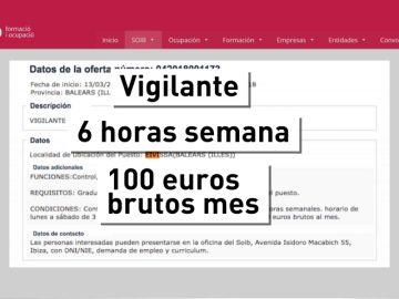 100 euros brutos al mes por trabajar en el puerto de Ibiza
