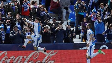 Bustinza celebra su gol con el Leganés en Butarque
