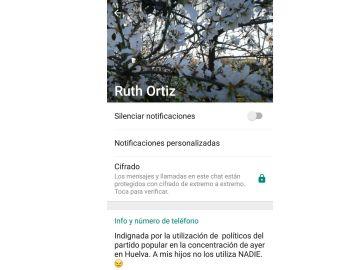 WhasApp de Ruth Ortiz