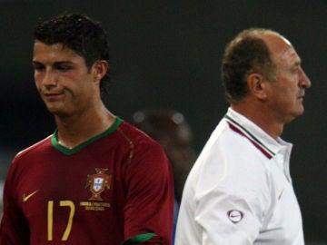 Cristiano Ronaldo y Scolari en 2006 con Portugal