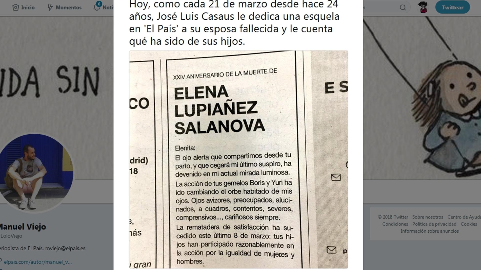 Esquelas a Elenita