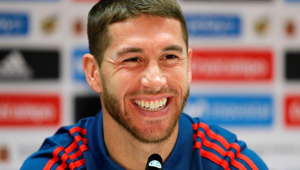 Sergio Ramos en rueda de prensa en Alemania