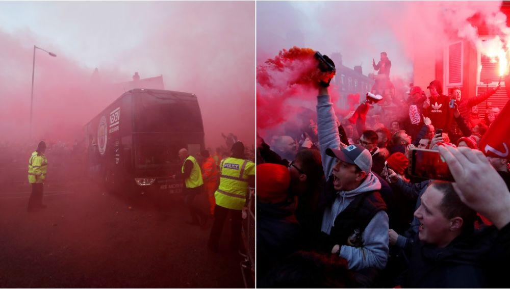 El autobús del City, a su llegada a Anfield