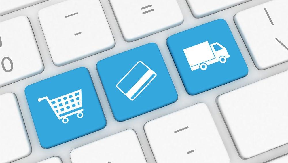 Imagen de un teclado cuyas teclas simbolizan el comercio electrónico.