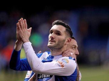 Lucas Pérez celebra su gol contra el Málaga