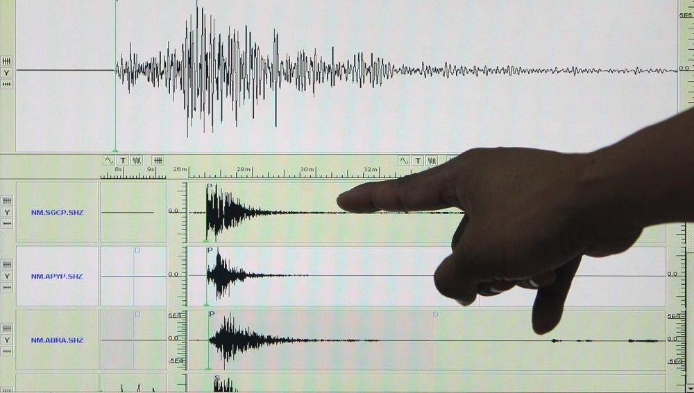 Imagen de archivo de un sismógrafo en el que aparece registrado un terremoto