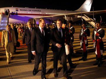 Mariano Rajoy en su llegada a Argentina