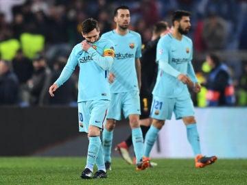 Los jugadores del Barcelona, hundidos en Roma