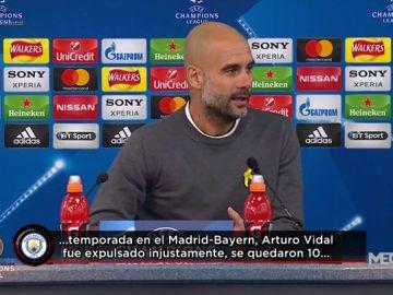 """Guardiola se acuerda del Madrid tras la eliminación del City: """"El año pasado expulsaron a Vidal..."""""""