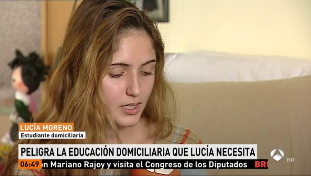Lucía sufre una enfermedad rara y pide que no le retiren la educación domiciliaria para poder seguir estudiando