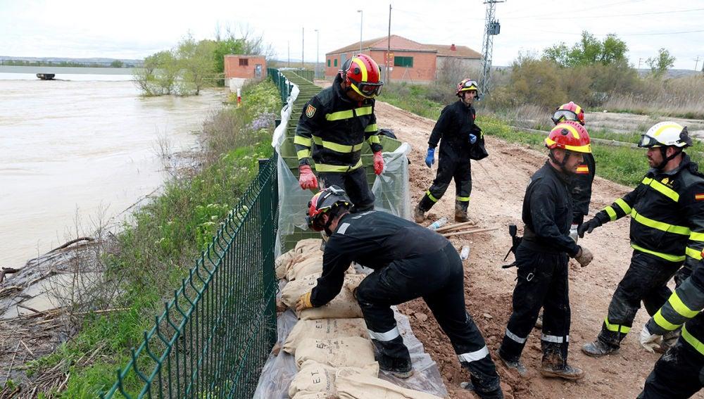 Efectivos de la UME trabajan en el Ebro a su paso por Pina del Ebro